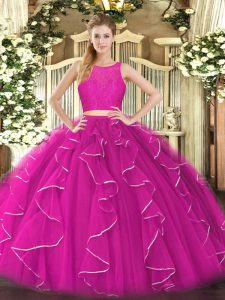 Dazzling Fuchsia Sleeveless Organza Zipper Sweet 16 Dress for Military Ball and Sweet 16 and Quinceanera