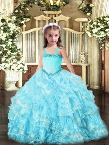 Sleeveless Organza Floor Length Lace Up Little Girls Pageant Dress Wholesale in Light Blue with Appliques and Ruffled Layers
