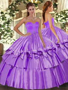 Ball Gowns 15th Birthday Dress Lilac Sweetheart Taffeta Sleeveless Floor Length Lace Up