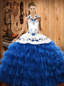 Enchanting Blue Ball Gowns Halter Top Sleeveless Organza Floor Length Lace Up Embroidery and Ruffled Layers Quinceanera Dress