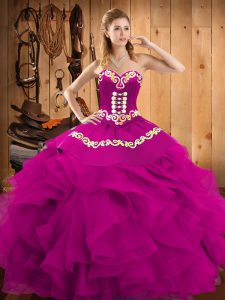 Floor Length Fuchsia Quinceanera Gowns Satin and Organza Sleeveless Embroidery and Ruffles