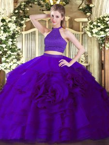 Luxurious Purple Tulle Backless Quinceanera Gowns Sleeveless Floor Length Beading and Ruffles