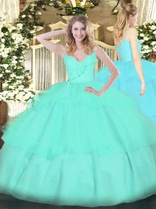 Eye-catching Sleeveless Ruffled Layers Zipper Sweet 16 Dresses