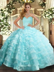 Apple Green Sleeveless Floor Length Ruffled Layers Lace Up Quinceanera Dresses