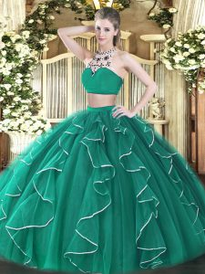 Turquoise Two Pieces Beading and Ruffles 15th Birthday Dress Backless Tulle Sleeveless Floor Length