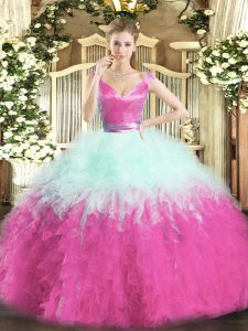 Shining Organza V-neck Sleeveless Zipper Ruffles Quinceanera Dresses in Multi-color