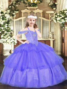 Floor Length Lavender Pageant Dress Womens Organza Sleeveless Beading and Ruffled Layers