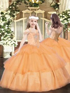 Fashion Orange Ball Gowns Organza Off The Shoulder Sleeveless Beading and Ruffled Layers Floor Length Lace Up Pageant Dress for Womens