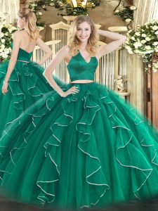 Organza Sleeveless Floor Length Quinceanera Dress and Ruffles