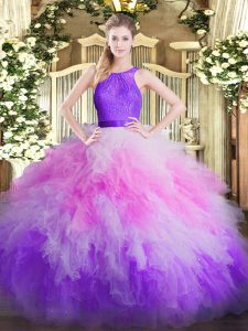 Trendy Multi-color Sleeveless Floor Length Ruffles Zipper Quinceanera Gown