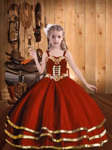 High Quality Straps Sleeveless Girls Pageant Dresses Floor Length Beading and Embroidery and Ruffled Layers Rust Red Organza