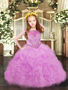 Floor Length Lilac Kids Formal Wear Organza Sleeveless Beading and Ruffles and Pick Ups