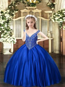 Floor Length Royal Blue Child Pageant Dress V-neck Sleeveless Lace Up