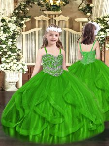 Green Straps Neckline Beading and Ruffles Little Girls Pageant Dress Wholesale Sleeveless Lace Up