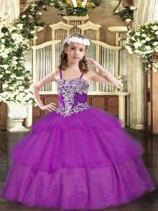 Lovely Fuchsia Ball Gowns Organza Straps Sleeveless Appliques and Ruffled Layers Floor Length Lace Up Little Girls Pageant Dress