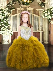 Scoop Sleeveless Little Girl Pageant Dress Floor Length Beading and Ruffles Gold Organza