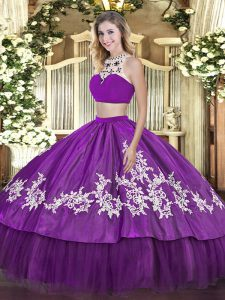 Dazzling Sleeveless Beading and Appliques and Ruffles Backless Sweet 16 Dresses