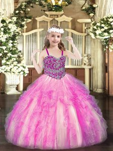 Straps Sleeveless Little Girl Pageant Gowns Floor Length Beading and Ruffles Rose Pink Organza