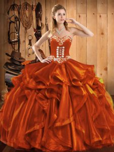 Custom Designed Rust Red Ball Gowns Embroidery Sweet 16 Dress Lace Up Organza Sleeveless Floor Length