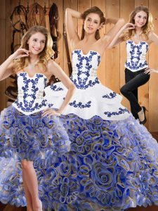 Unique Multi-color Lace Up Strapless Embroidery and Ruffles Vestidos de Quinceanera Satin and Fabric With Rolling Flowers Sleeveless Sweep Train