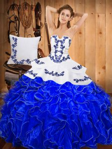 Lovely Blue And White Satin and Organza Lace Up Sweet 16 Dress Sleeveless Floor Length Embroidery and Ruffles