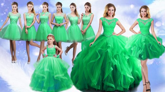 Classical Green Organza Lace Up Scoop Sleeveless Floor Length Sweet 16 Dresses Beading and Ruffles