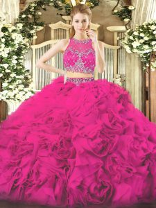 New Arrival Fabric With Rolling Flowers Sleeveless Floor Length Quinceanera Dress and Beading