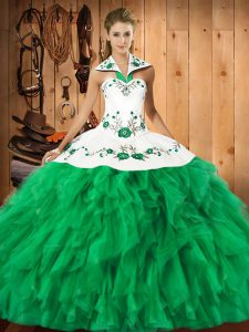Ball Gowns Sweet 16 Dresses Green Halter Top Satin and Organza Sleeveless Floor Length Lace Up