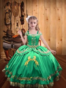 Cute Sleeveless Beading and Embroidery Lace Up Pageant Dress Toddler