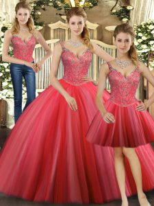 Beading Quinceanera Gowns Coral Red Lace Up Sleeveless Floor Length