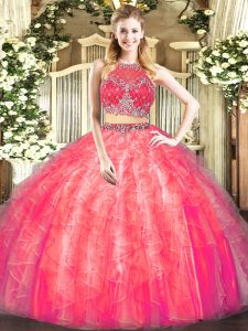 Elegant Sleeveless Zipper Floor Length Beading and Ruffles Sweet 16 Dress