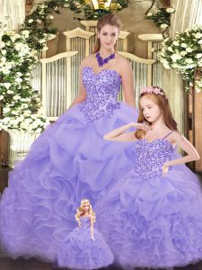 Lavender Lace Up 15th Birthday Dress Beading and Ruffles Sleeveless Floor Length