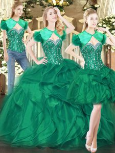 Adorable Dark Green Lace Up Quinceanera Dress Beading and Ruffles Sleeveless Floor Length