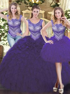 Fabulous Floor Length Purple Sweet 16 Quinceanera Dress Tulle Sleeveless Beading and Ruffles