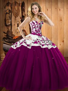 Floor Length Fuchsia Sweet 16 Dresses Satin and Tulle Sleeveless Embroidery