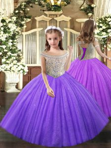 Sleeveless Floor Length Beading Lace Up Little Girl Pageant Gowns with Lavender