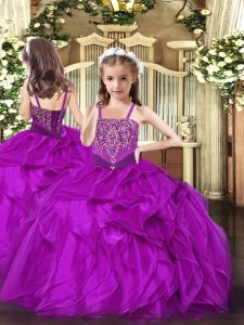 Pretty Fuchsia Organza Lace Up Straps Sleeveless Floor Length Kids Formal Wear Beading and Ruffles
