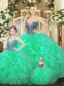 Amazing Green Sweetheart Neckline Ruffles Sweet 16 Dress Sleeveless Lace Up