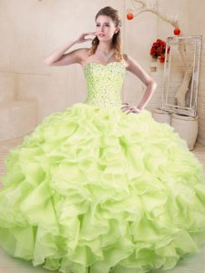 Yellow Green Organza Lace Up Sweetheart Sleeveless Floor Length Quinceanera Dresses Beading and Ruffles