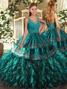 Teal Ball Gowns Beading and Ruffles 15th Birthday Dress Zipper Organza Sleeveless Floor Length