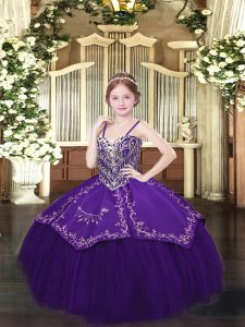 Unique Dark Purple Sleeveless Beading and Embroidery Floor Length Pageant Gowns For Girls