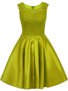 Olive Green Sleeveless Lace Mini Length Quinceanera Court of Honor Dress