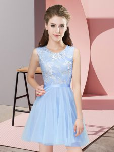Tulle Scoop Sleeveless Side Zipper Lace Court Dresses for Sweet 16 in Light Blue