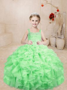 Floor Length Apple Green Little Girls Pageant Dress Straps Sleeveless Lace Up