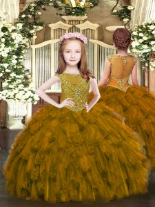 Trendy Brown Little Girls Pageant Dress Wholesale Party and Quinceanera with Beading and Ruffles Scoop Sleeveless Zipper