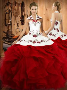Enchanting Wine Red Ball Gowns Tulle Halter Top Sleeveless Embroidery and Ruffles Floor Length Lace Up Quinceanera Dress