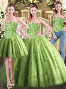 Tulle Sweetheart Sleeveless Lace Up Beading Quinceanera Dresses in Olive Green