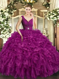 Latest Fuchsia V-neck Neckline Beading and Ruffles Quinceanera Dress Sleeveless Backless
