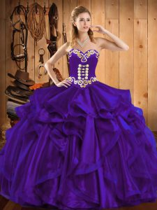 Latest Ball Gowns Quinceanera Gowns Purple Sweetheart Organza Sleeveless Floor Length Lace Up