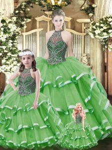 Admirable Green Halter Top Neckline Beading and Ruffled Layers Sweet 16 Dress Sleeveless Lace Up